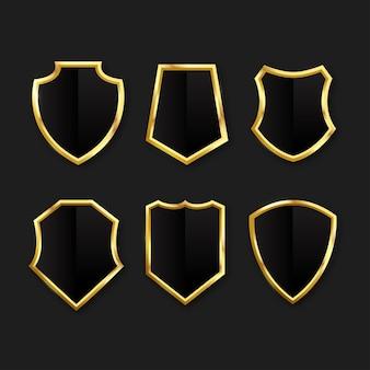 Conjunto de escudo dourado de luxo