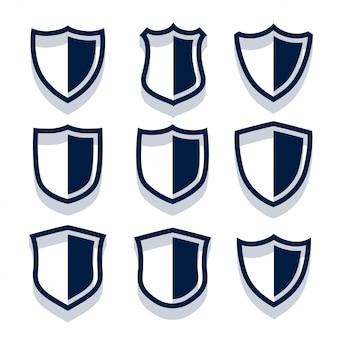 Conjunto de escudo e emblemas de segurança