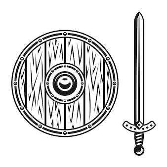 Conjunto de escudo e espada de madeira de armas vetoriais objetos de design monocromático ou elementos gráficos isolados no fundo branco