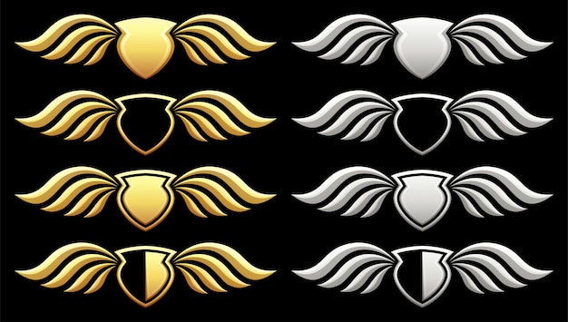Conjunto de escudo heráldico com asas em preto