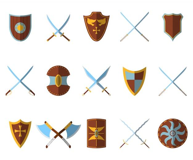 Conjunto de escudo medieval e armas