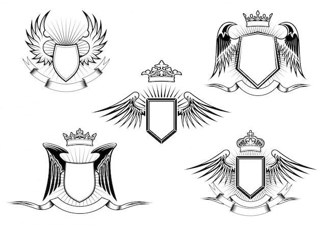 Conjunto de escudos alados heráldicos