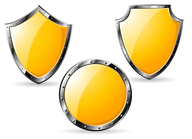 Conjunto de escudos de aço amarelo