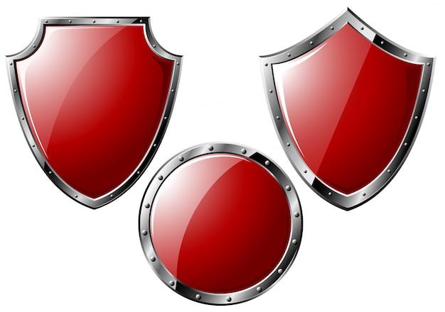 Conjunto de escudos de aço vermelhos