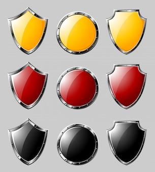 Conjunto de escudos de aço
