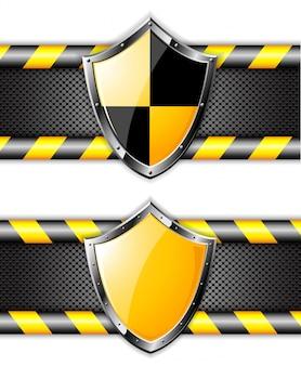 Conjunto de escudos de ouro sobre fundos pontilhados de aço.
