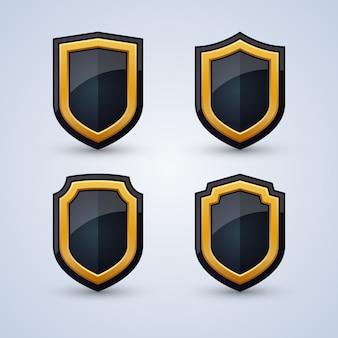 Conjunto de escudos de pretos e dourados