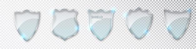 Conjunto de escudos de vidro.