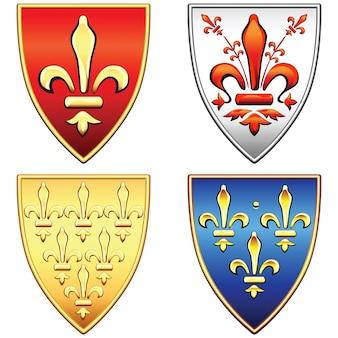 Conjunto de escudos franceses com os braços das flores