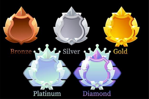 Conjunto de escudos para conquistas em jogos.