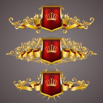 Conjunto de escudos reais de ouro com elementos florais