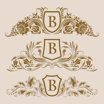 Conjunto de escudos reais dourados com elementos florais para a página
