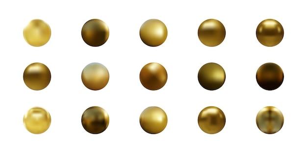 Conjunto de esfera de ouro isolado no branco