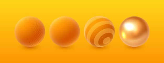 Conjunto de esferas 3d realistas abstratas.