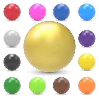 Conjunto de esferas brilhantes coloridas