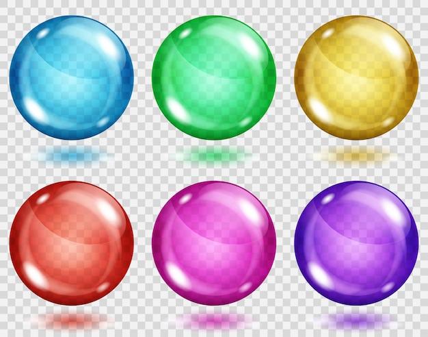 Conjunto de esferas coloridas translúcidas com sombras