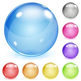 Conjunto de esferas de vidro opaco multicoloridas com reflexos e sombras