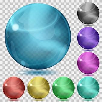 Conjunto de esferas de vidro transparente de várias cores com reflexos e sombras