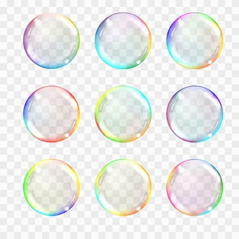 Conjunto de esferas de vidro transparente multicolorido.
