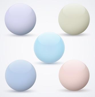 Conjunto de esferas em um fundo branco