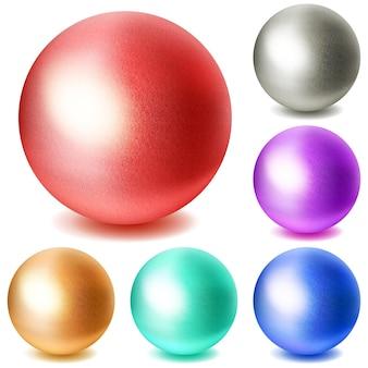 Conjunto de esferas multicoloridas realistas com sombras no fundo branco