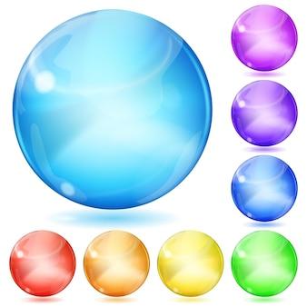 Conjunto de esferas opacas de várias cores com reflexos e sombras