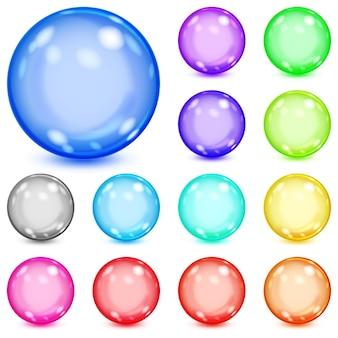 Conjunto de esferas opacas multicoloridas com reflexos e sombras
