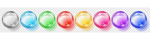 Conjunto de esferas translúcidas coloridas com reflexos e sombras em conjunto