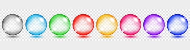 Conjunto de esferas translúcidas coloridas com reflexos e sombras