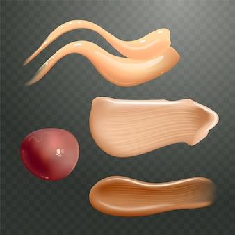 Conjunto de esfregaços de creme cosmético realistas. produto para a pele em diferentes cores corporais.