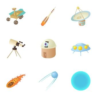 Conjunto de espaço, estilo cartoon