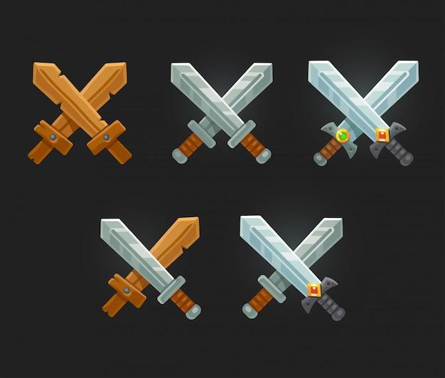 Conjunto de espadas do jogo