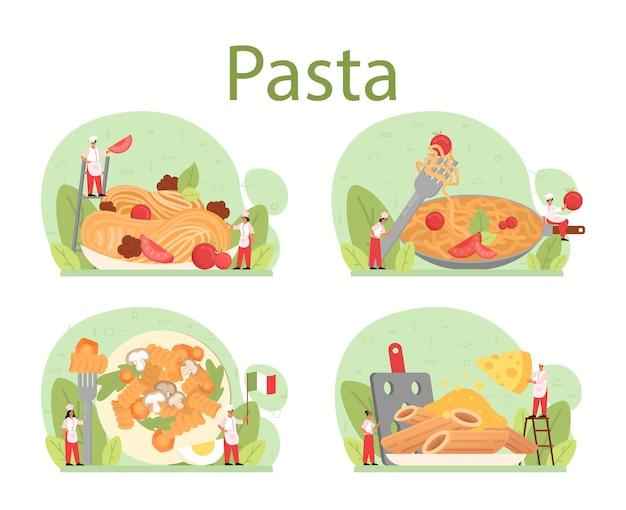 Conjunto de espaguete ou massa. comida italiana no prato. jantar delicioso, prato de carne. ingredientes de cogumelos, almôndegas e tomates. isolado