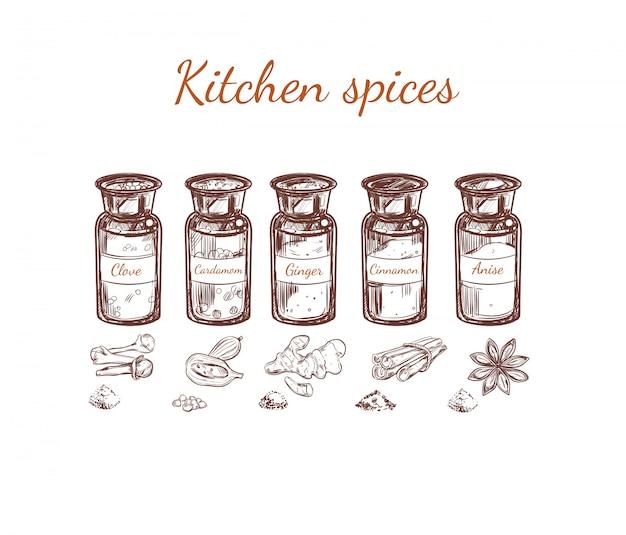 Conjunto de especiarias de cozinha desenhadas à mão