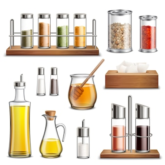 Conjunto de especiarias de ervas de cozinha realista