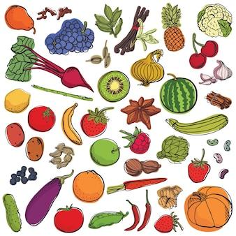 Conjunto de especiarias e legumes e frutas grande