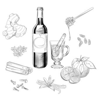 Conjunto de especiarias e vinho com especiarias cítricas de mão desenhada. ingredientes do vinho quente. garrafa de vinho tinto, laranja, canela em pau, cravo, baunilha, erva-doce, cardamomo, gengibre, mel. estilo de gravura. objetos isolados