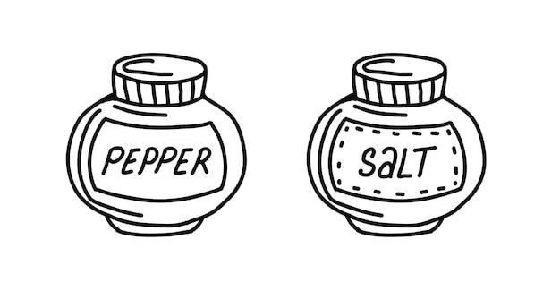 Conjunto de especiarias, sal e pimenta, estilo doodle