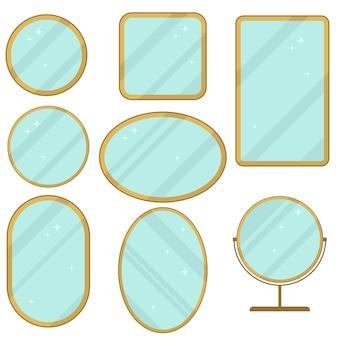 Conjunto de espelhos, coleção de quadros de espelhos realistas, diferentes formas com reflexo, redondo, retangular, elipse.