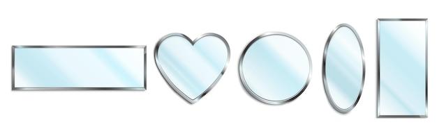 Conjunto de espelhos com moldura cromada