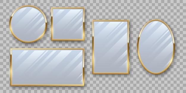 Conjunto de espelhos de maquiagem dourados.