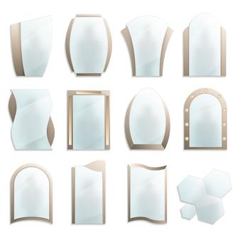 Conjunto de espelhos decorativos de parede em casa