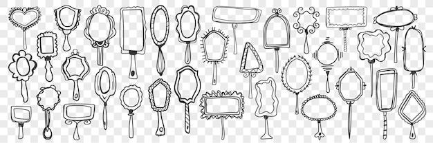 Conjunto de espelhos doodle.