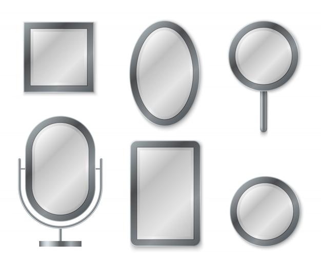 Conjunto de espelhos. espelhamento reflexão superfície realista em branco espelhos vidro decoração quadro decoração de interiores imagem vintage