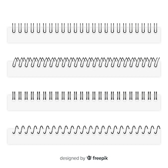 Conjunto de espirais para estilo realista de cadernos