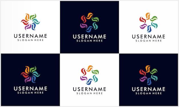 Conjunto de espiral colorida e modelo de design de logotipo em movimento espiral, coleção de logotipo de corporação