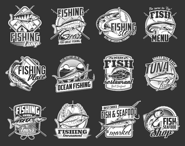 Conjunto de esporte de pesca. peixes de mar e rio, lúcios, percas e douradas, marlim, atum e salmão, solha, sheatfish ou bagre, vara e anzol. torneio de pesca, loja de equipamentos, emblema de frutos do mar
