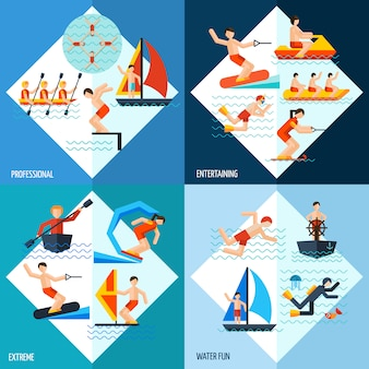 Conjunto de esportes aquáticos