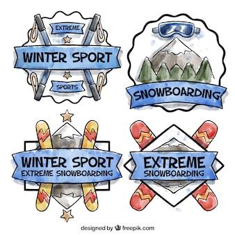 Conjunto de esportes da aguarela adesivos Vetor grátis