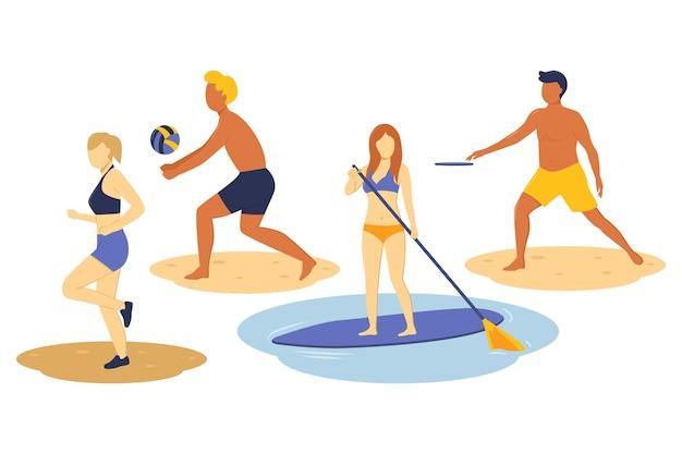 Conjunto de esportes de verão